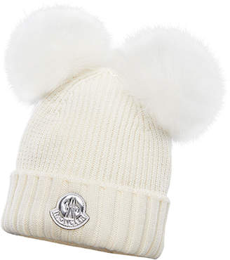 Moncler Kid's Virgin Wool Beanie Hat w/ Fur Pompoms