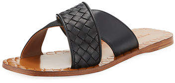 Bottega Veneta Flat Crisscross Woven Slide Sandals
