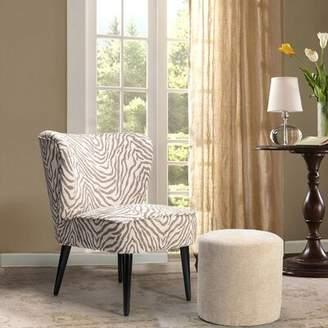 Bronx Ivy Brookneal Slipper Chair and Ottoman Ivy Fabric: Zebra