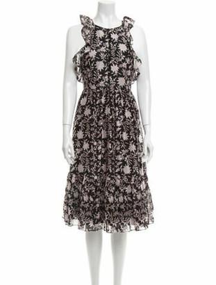 Ulla Johnson Floral Print Midi Length Dress Black