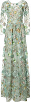 Marchesa floral embroidery sheer gown - women - Nylon - 16