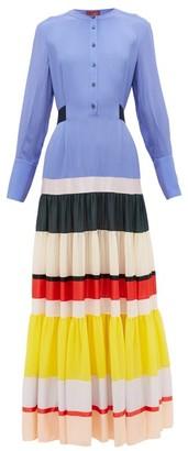 Altuzarra Lobelia Striped-hem Silk Crepe De Chine Maxi Dress - Womens - Blue Multi