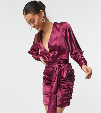 Chi Chi London long sleeve ruched satin wrap mini dress in berry