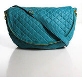 Amrita Singh Blue Quilted Leather Gold Tone Crossbody Handbag