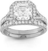 Ice Tiara 2 7/8 CT Cubic Zirconia 10K White Gold Asscher Cut Designer Halo Bridal Set