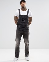 Asos Denim Overalls With Rip Details In Washed Black