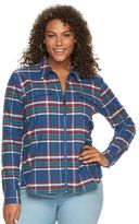 Chaps Plus Size Plaid Brushed Twill Shirt