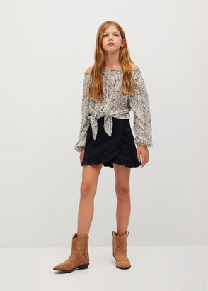 MANGO Ruffle denim skirt