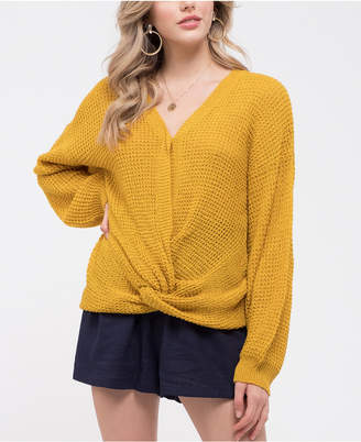 Blu Pepper Twist-Front Knit Sweater