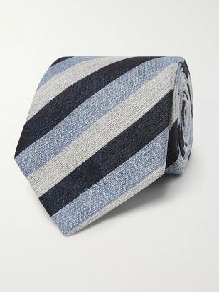 Ermenegildo Zegna 8.5cm Striped Linen And Silk-Blend Tie