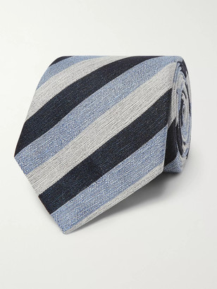 Ermenegildo Zegna 8cm Striped Linen And Silk-Blend Tie