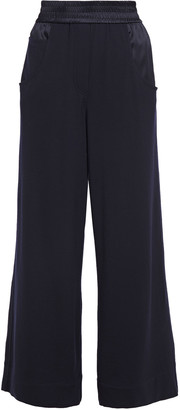Brunello Cucinelli Satin-trimmed Wool-blend Wide-leg Pants