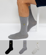 Lyle & Scott 3 Pack Socks Black & Grey