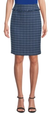 Kasper Tweed Fringed Pencil Skirt