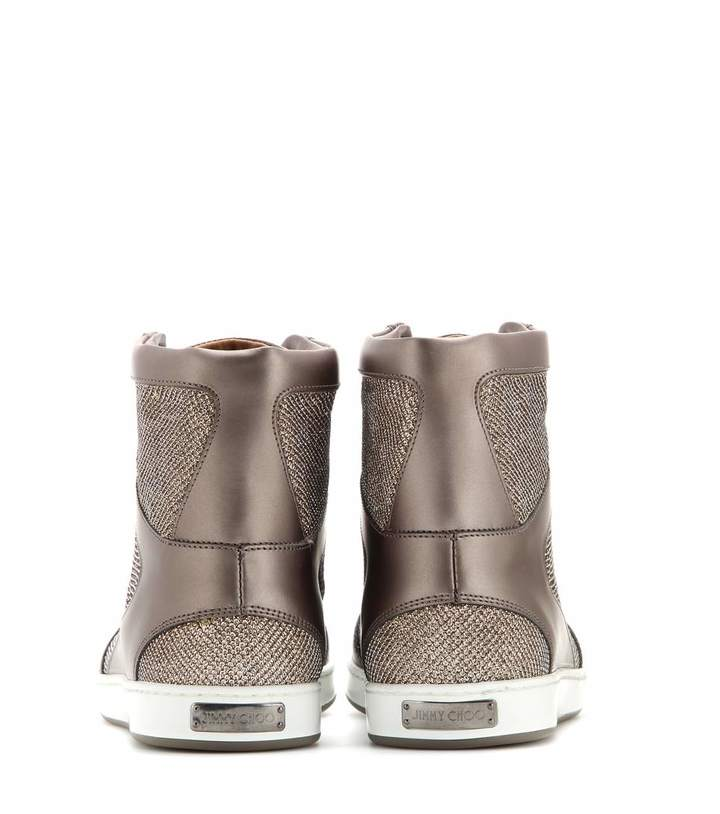 Jimmy Choo Tokyo leather and lamé high-top sneakers