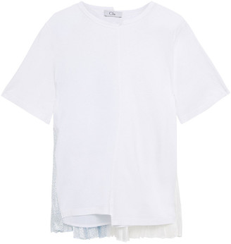 Clu Pleated Floral-print Twill-paneled Cotton-jersey T-shirt