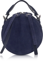Carven Orsay Navy Blue Suede Round Crossbody Bag