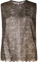 Saint Laurent floral lace sleeveless top - women - Silk/Viscose/Polyimide - 38