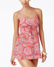 swim solutions lady lace printed empire swimdress