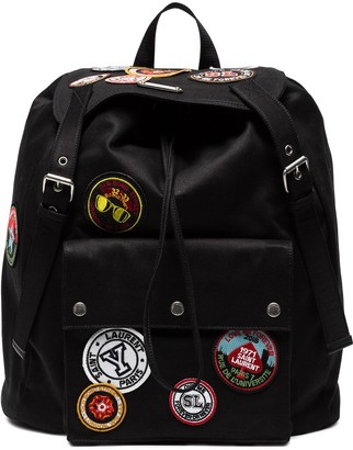 Saint Laurent Noe backpack with multicoloured patches