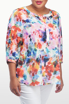 NYDJ Urban Vista Print 3/4 Sleeve Blouse In Plus