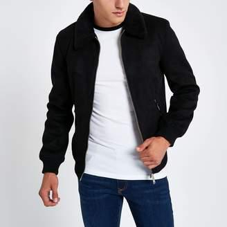 River Island Mens Black faux suede borg collar jacket