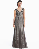 White House Black Market Beaded V-neck Gown