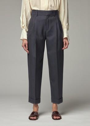 Chloé Women's Carrot Pinstripe Pant in Navy Size 36