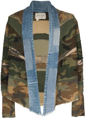 Greg Lauren Camouflage Denim Kimono Jacket