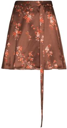 Reformation Floral Print Silk Mini Skirt