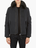 Yves Salomon Black Fur-trimmed Bomber Jacket
