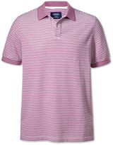 Berry And White Stripe Oxford Cotton Polo Size Large By Charles Tyrwhitt