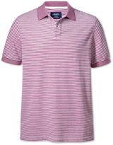 Charles Tyrwhitt Berry and White Stripe Oxford Cotton Polo Size XL