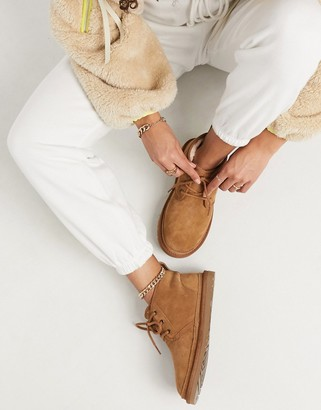 UGG Neumel lace up ankle boots in chestnut