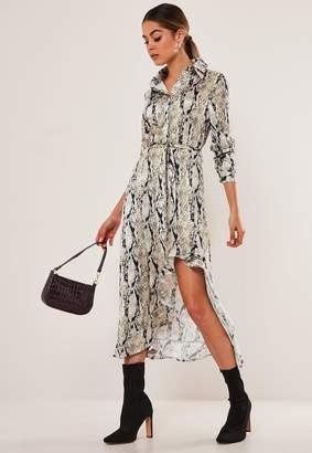 Missguided Stone Snake Print Ruffle Split Midi Shirt Dress