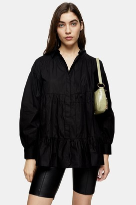 Topshop Black Tiered Poplin Shirt