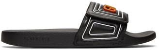 Gucci Black Leather Logo Slides