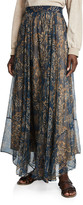 Brunello Cucinelli Printed Chiffon Pull-On Maxi Skirt