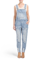 Juniors Distressed Denim Overalls