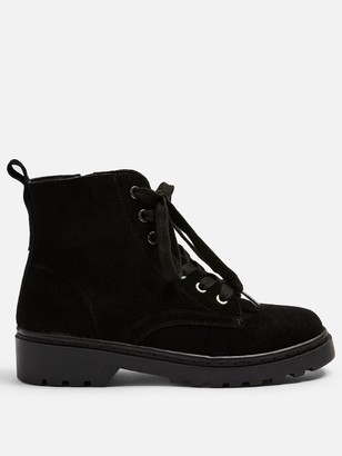Topshop Bumble Wide Fit Lace Up Ankle Boot - Black