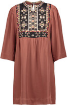 Isabel Marant Ren embroidered silk crepe de chine mini dress