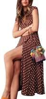 Sevozimda Women Casual V-Neck High Split Cap Sleeves Chiffon Polka Dot Summer Maxi Dress XL