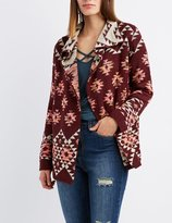 Charlotte Russe Tribal Nubby Open Cardigan