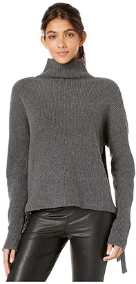 BCBGMAXAZRIA Long Sleeve Pullover Sweater with Tie Detail (Dark Charcoal) Women's Clothing