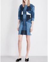 Maje Rosen patchwork pure-cotton denim dress