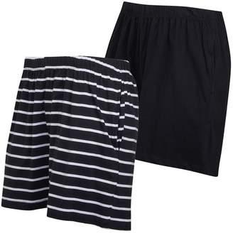 Board Angels Womens Yarn Dyed Stripe/Plain Two Pack Jersey Shorts Black/White
