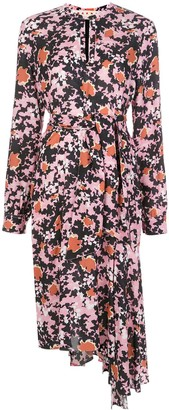Marni Floral Print Tie Waist Dress
