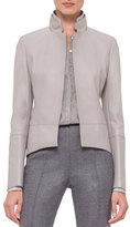 Akris Long-Sleeve Leather Tailcoat Jacket, Gravel