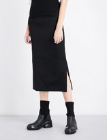 Y's Ys Belted high-rise wool-twill skirt