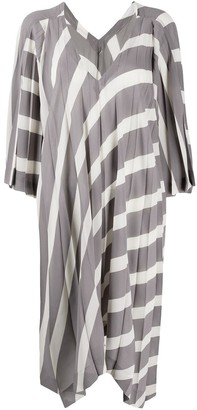 Issey Miyake Pleated Asymmetric Dress